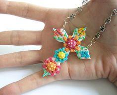 Happy Faith / Handmade polymer clay necklace