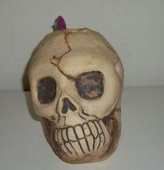 Handmade Skull Toothbrush Holder Artist Judhe Jensen of Topeka Kansas