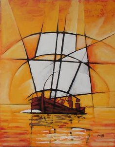Gallery of Chennai based indian contemporary artist Cheenu Pillai Indian Art Paintings, Modern Art Paintings, Cubist Art, Abstract Art, Indian Contemporary Art, Sailboat Art, Madhubani Art, Indian Artist, Geometric Art