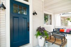 Farrow and Ball's Hague Blue - Front door color Exterior Shutter Colors, Exterior Paint Colors, Exterior House Colors, Exterior Doors, Exterior Design, Paint Colours, Teal Front Doors, Painted Front Doors, Front Door Colors