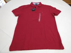 Mens Tommy Hilfiger Polo shirt M md slim fit solid NEW 7845144 Cabernet 606 red #TommyHilfiger #polo