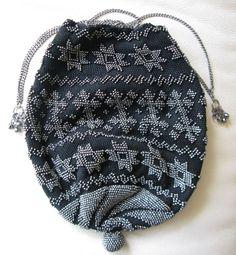 Antique Art Deco Black Crochet Steel Bead Star Silver Drawstring Flapper Purse #Drawstring