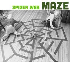 Send the kids through a spider web maze to find the spider.