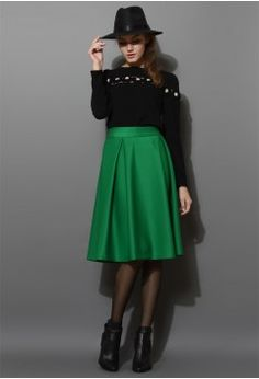 Full A-line Midi Skirt in Green - CHICWISH SKIRT COLLECTION - Skirt - Bottoms - Retro, Indie and Unique Fashion