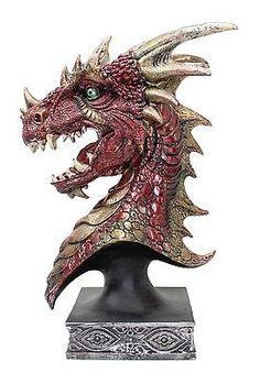 Hand Paint Red Western Dragon Head Statue Dark Legend Home Decor Gift US Seller