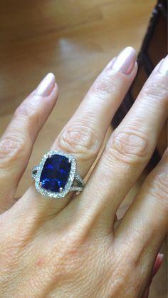 Sapphire Engagement Ring 14kt White Gold Halo 13x10mm Ceylon Blue Sapphire Cushion Cut FSI1 Diamonds .82ct Engagement Wedding Ring