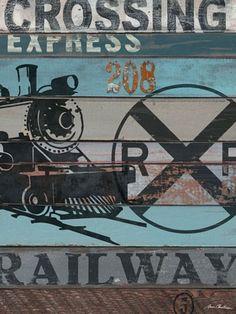 American Byways Wall Art- Railway-train, oopsy daisy, vintage, wall art, canvas, art work, boys