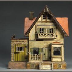 Morris Gottschalk red roof dolls house German c1910 48cm (19'') tall x 43cm (17'') wide x 27cm (10.5'')  deep