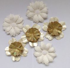 Handcrafted SHABBY CHIC Mulberry Paper Flowers mixed size Flower Embellishments #SweetpeapollysCraftyThings
