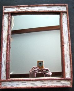 Rustic Handmade Birch Bark Framed Mirror Adirondack Cabin Lodge Decor #Rustic