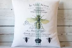 Acacia Bee  16 Cushion Pillow Cover French by DelightfulVintageUK