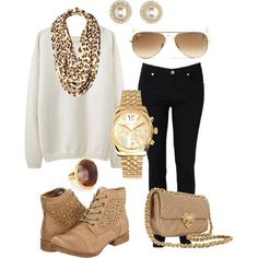 Black skinnies, White oversize sweater, Tan lace boots, Leopard print loop scarf   Nude chain-link strap bag, Gold boyfriend watch, earrings, &ring, Gold aviator sunnies