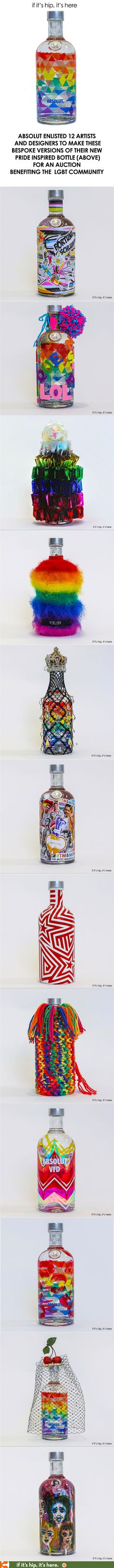Only 2 days left to bid on these 12 one of a kind, artist-decorated versions of Absolut's new MIX bottle in honor of London Pride 2016.