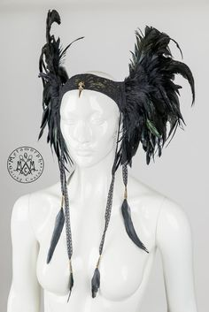 Feather headdress Black wings Valkyrie headpiece with lace feather tassels Edgy fashion Burning man Dark fusion LARP cosplay headgear https://www.etsy.com/uk/listing/209214337/feather-headdress-black-wings-valkyrie?ref=sr_gallery_28&ga_search_query=burning+man&ga_page=4&ga_search_type=all&ga_view_type=gallery