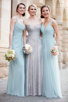 Evening Mist and Modern Metallic Bridesmaid Dresses from Sorella Vita