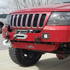 Recessed winch bumper for Jeep Grand Cherokee WJ 1999 - 2004 by HK Offroad Grand Cherokee Overland, Jeep Grand Cherokee Laredo, Sheet Metal Work, Jeep Wj, Anchor Systems, Winch Bumpers, Heavy Construction Equipment, Wrangler Jl, Offroad