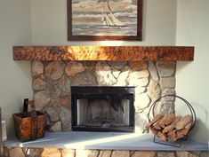 stone corner fireplaces | Fireplace: Rustic Stone Corner Fireplace Mantel Kits Nature Canvas ...