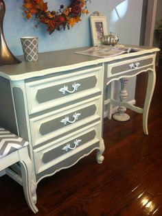 Sold/Judy Reserved Sale /Chic French Provincial Henry Link Desk/ Vanity with Chair