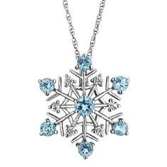 Swiss Blue Topaz and White Sapphire Snowflake Pendant - Item 19175512 | REEDS Jewelers