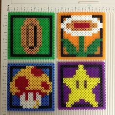 Super Mario Bros perler bead sprite coasters by evbeadsprites
