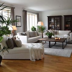 home decor cozy white living room decor - Living Room Interior, Home Living Room, Living Room Designs, Living Spaces, Dark Wood Furniture Living Room, Living Room Ideas, Cozy Living Rooms, Taupe Living Room, Casual Living Rooms