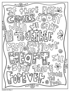 Winnie the Pooh Coloring Quotes - Doodle Art Alley Abstract Coloring Pages, Valentine Coloring Pages, Adult Coloring Book Pages, Alphabet Coloring Pages, Printable Adult Coloring Pages, Colouring Pages, Coloring Sheets, Coloring Books, Mandala Coloring