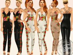 Floral Embellished Jumpsuit  Found in TSR Category 'Sims 3 Female Clothing'