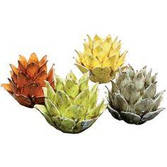 Colorful ceramic tea light holders in the shape of artichokes.  Great gift idea.