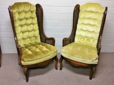 Vintage Mid Century Pair of Green Cane Lounge by TakeFiveVintage