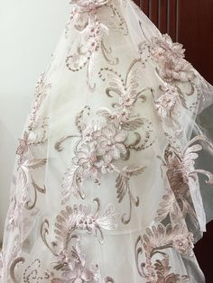 Lux Pearl Beaded Blossom Floral Embroidery Lace Fabric in Dust Pink Blue by Yard , Haute Couture Bridal Wedding Gown Fabric Accessories Gorgeous Prom Dresses, Glamorous Dresses, Bridal Lace, Bridal Gowns, Wedding Gowns, Dress Clothes For Women, Lace Embroidery, Lace Flowers, Beaded Lace