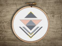 modern cross stitch pattern small retro triangle arrow by futska