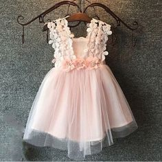 A-Line Square Short Pink Tulle Flower Girl Dress with Lace Flowers