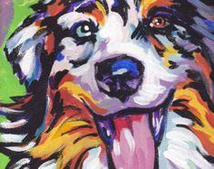 Art moderne de chien berger allemand noir par BentNotBroken sur Etsy