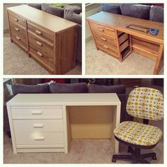 I'm veryyyyy excited about this. I turned my old college dresser into a desk, doubling as a couch table! I did this all on my own!! Who needs a man when you can paint and saw wood yourself!? I took out half of the drawers, sawed off the cross pieces, covered foam board with fabric as the interior, and painted it! #Boom
