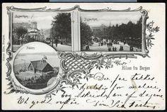 Hordaland fylke Bergen Hilsen fra...3-bilders med bl.a. Byparken Utg Oscar Riis, Bergen Postgått 1901