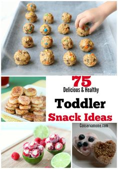 75 Delicious & HealthToddler Snack Ideas is part of Healthy toddler meals - A list of 75 Delicious & Healthy Toddler Snack Ideas to help make creative and delicious meals for your active little toddler! Great Snack ideas for kids Healthy Toddler Snacks, Healthy Foods To Eat, Healthy Kids, Toddler Food, Homemade Toddler Snacks, Healthy Lunches, Healthy Kindergarten Snacks, Healthy Meals For Toddlers, Recipes For Toddlers