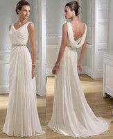Wholesale Sexy V neck Greek A line Chiffon Summer Wedding Dresses Granceful Nymph Crystals Beaded Bridal Gowns