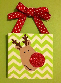 Add a little sparkle to your Christmas tree this year! This 4x4 acrylic painting of a reindeer on a mini canvas with a red and white polka