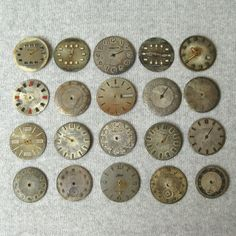 Vintage Watch Faces, Antique Dials Parts, Dials For Steampunk, Jewelry Projects, Old Watch Dials, Set Of Watch Faces, Assorted Watch