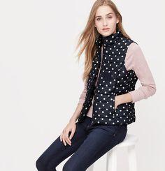 Petite Polka Dot Quilted Puffer Vest | Loft
