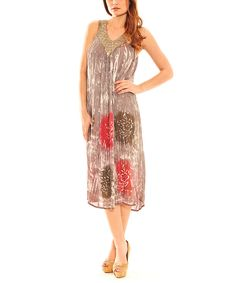 Look at this Sol Clothing Taupe & Red Floral Yoke Dress on #zulily today!