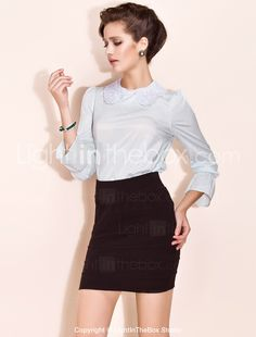 TS Embroidery Puff Sleeve Trumpet Sleeve Blouses - USD $ 17.49