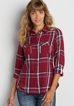 button down plaid shirt in rose petal red | maurices