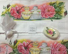 Conjunto toalha de rosto e banho pintada