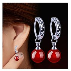 24085a757 RUOYE Fashion Earrings For Women Natural Black And Red Agate Earrings Ear Jewelry  Korean Style Party Silver Plated Accessories