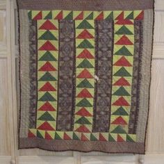 "1860s PA Flying Geese Crib Quilt Sawtooth Mustard Green Browns RARE | eBay seller gb-best, 41"" x 35""; hand quilted at 6 spi, hand sewn binding, thin batting, tears & wear to fabric, c. 1860/70s era, Bucks co., PA estate"