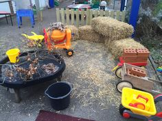 Outdoor role play linking in with The Three Little Pigs from @EarlyyearsVic