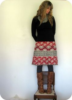 Skirt + Tights + Sweater + Boots