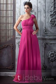 pink bridesmaid dresses | One SHoulder Chiffon Hot Pink Long Style ...