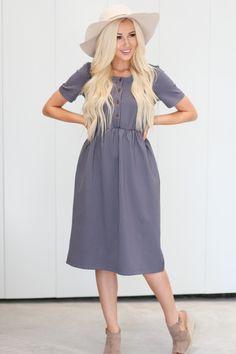 fd22987ebd145 Modest Dress or Nursing Dress in Denim (Dark Blue) with White Stripes